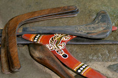 Indigenous Australia Boomerangs. Indigenous Australian art Dot painting on boomerangs. It's one of the oldest traditional form of art in the world. Paint marks Royalty Free Stock Photos