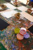 Preparing a dot painting workshop. Ayers Rock resort. Northern Territory. Australia. Indigenous Australian art or Australian Aboriginal art is art made by the royalty free stock images