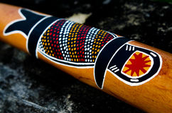 Indigenous Australian art on Didgeridoo Stock Images