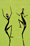 Indigenous Australian art Dot painting of Aboriginal women danci. Ng. It's one of the oldest traditional form of art in the world. Paint marks to tell Aboriginal Stock Photography