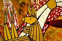 Indigenous Australian art Dot painting of Kangaroo. QUEENSLAND - APR 16 2016:Indigenous Australian art Dot painting of Kangaroo. It's one of the oldest stock photo