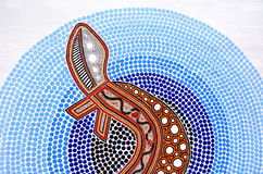 Indigenous Australian art Dot painting. SYDNEY, AUS - OCT 22 2016:Indigenous Australian art Dot painting. It's one of the oldest traditional form of art in the Royalty Free Stock Image