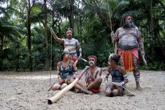 Indigenous Australians People in Queensland Australia stock photography