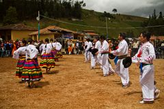 Indigenous community celebrating Inti Raymi, Inca Stock Images