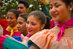 Indigenous community celebrating Inti Raymi, Inca. INGAPIRCA, CANAR, ECUADOR - JUNE 19, 2010: Unidentified indigenous people celebrating Inti Raymi Inca Festival Royalty Free Stock Image