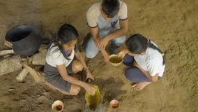 Tribe People Cooking Food. Indigenous Cooking, Handicrafts And Art On Amazonian Village In Ecuador stock video