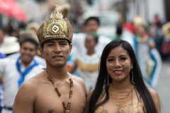 Indigenous couple in Ecuador Stock Images