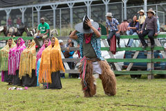 Indigenous dancer wearing furry chaps. May 27, 2017 Sangolqui, Ecuador: indigenous dancer wearing furry chaps and large hat performing at the opening of a rural stock images