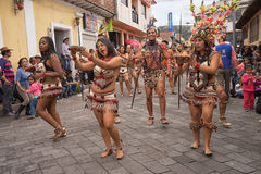Indigenous dancers from the Amazon Stock Photo