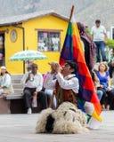 Indigenous dancers of Ecuador royalty free stock images