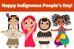 Indigenous. Day banner. Multinational characters. Vector illustration stock illustration