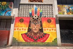 Indigenous exterior wall painting in San Gabriel, Ecuador. San Gabriel, Ecuador- November 3, 2017: indigenous painting decorating the wall of a building in the royalty free stock photography