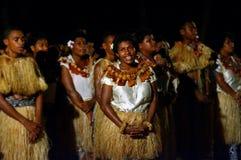 Indigenous Fijian people sing and dance in Fiji. Indigenous Fijian people sing and dance a traditional Fijian dance. Real people copy space Stock Photo