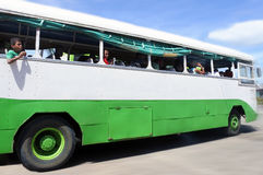 Indigenous Fijian people travel by bus in Fiji Royalty Free Stock Images