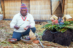 Indigenous Guide on Uros Islands Royalty Free Stock Photo