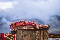 Indigenous Heritage. Tissues from Aymara indigenous people at the highest level of a mountain Royalty Free Stock Image