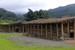 Indigenous huts in the farm of wulaokeng scenic area Royalty Free Stock Images