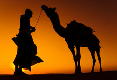Indigenous Indian Man with His Camel Royalty Free Stock Photos