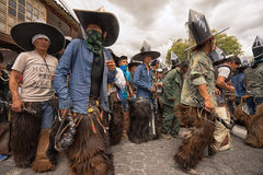Indigenous kichwa people wearing sombreros and chaps outdoors Stock Photography