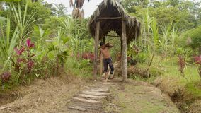 Indigenous man with an injured foot carrying wooden sticks. In an amazon village stock footage