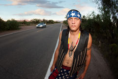 Indigenous man by the side of the road Stock Photos