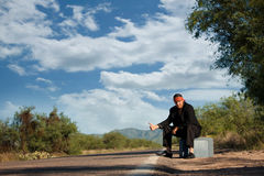 Indigenous man by the side of the road. Handsome indigenous man by the side of the road with copy space Royalty Free Stock Images