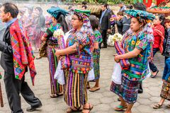 Indigenous Maya in traditonal costume in procession, Guatemala stock photos