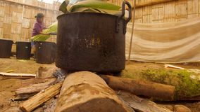 Indigenous Old Woman Cooking In A Primitive Kitchen In The Amazon Rainforest. In Ecuador stock video