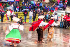 Indigenous People Dressed Traditional, Ecuador Stock Photo