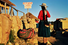Indigenous people. In the sun Island in Bolivia, Lake Titicaca Royalty Free Stock Images