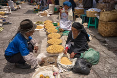 Indigenous quechua people in the market Stock Image