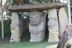 Indigenous sculpture of San Agustín, Huila, Colombia. Royalty Free Stock Image
