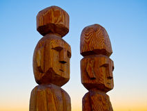 Indigenous sculpture. Wood Sculptures in indigenous Mapuche style, the shores of Lake Nahuel Huapi - San Carlos de Bariloche - Patagonia - Argentina Royalty Free Stock Image