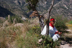 Indigenous Tarahumara man wearing traditional tribal outfit, in Royalty Free Stock Photo
