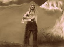Indigenous warrior with his ax royalty free illustration