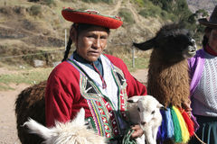 Indigenous Woman, Cuzco, Peru. CUZCO, PERU – OCTOBER 23: Unidentified Indigenous Woman dressed in Traditional Costume and alpacas, Cuzco, Peru, South America Stock Images