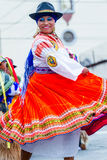 Indigenous Woman Dancer Is Dancing On The Streets, Ecuador Stock Images