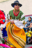Indigenous Woman Dancer Is Dancing On The Streets, South America Stock Photography
