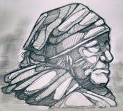 Indigenous woman pencil drawing Stock Photos