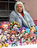 RAG DOLLS SELLER, TEPOZTLAN`S CARNIVAL, MEXICO Royalty Free Stock Image