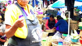 Indigenous women offering beans grains. CHIAPAS, MEXICO-CIRCA AUGUST 2018: Indigenous women offering their beans grains in wicker baskets in the traditional San stock video footage