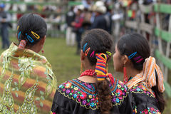 Indigenous women at a rural rodeo. May 27, 2017 Sangolqui, Ecuador: indigenous women at a rural rodeo in the Andes Royalty Free Stock Photography