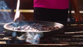 Indigenous Worker Roasting Cocoa Beans. In Ecuador Detail Shot stock footage