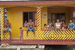 Indigenous Family in Gurupa, Brazil Stock Photography