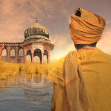 Indigente su Gange Immagine Stock