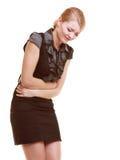 indigestie Vrouw die aan geïsoleerde maagpijn lijden Stock Foto's
