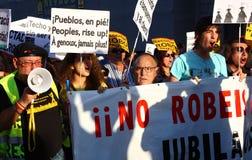 Indignados à Madrid, Espagne Images libres de droits