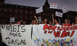 Indignados dans commandant de plaza, Madrid Photos stock