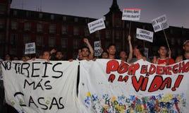 Indignados in de Majoor van het Plein, Madrid Stock Foto's