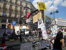 indignados Madrid zajmują zolu kwadrat Fotografia Royalty Free